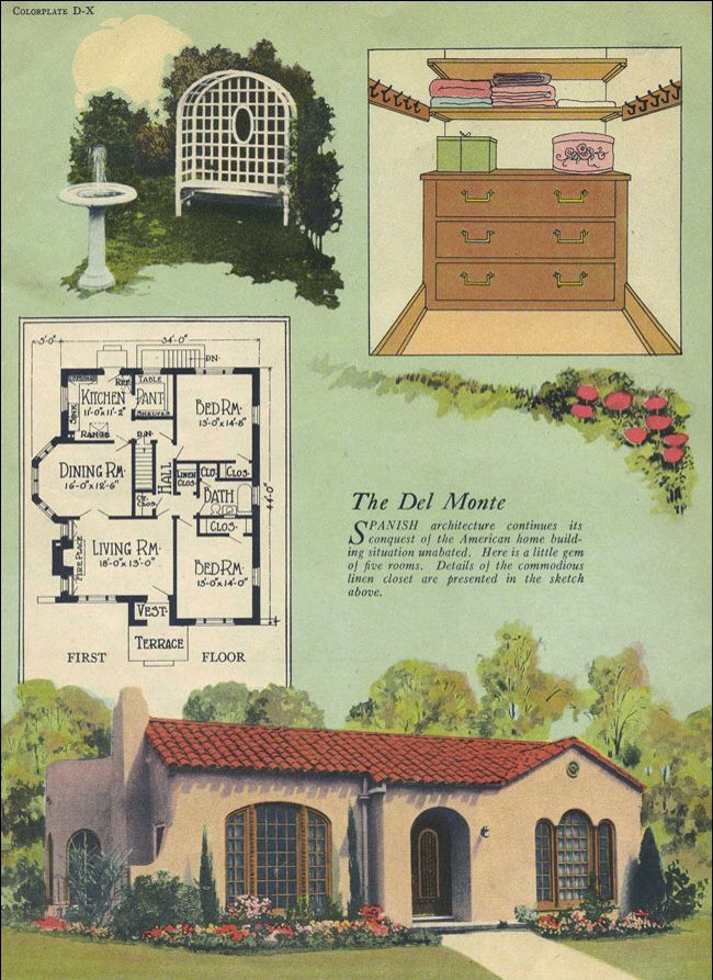 Vintage spanish revival house plans for Vintage bungalow house plans