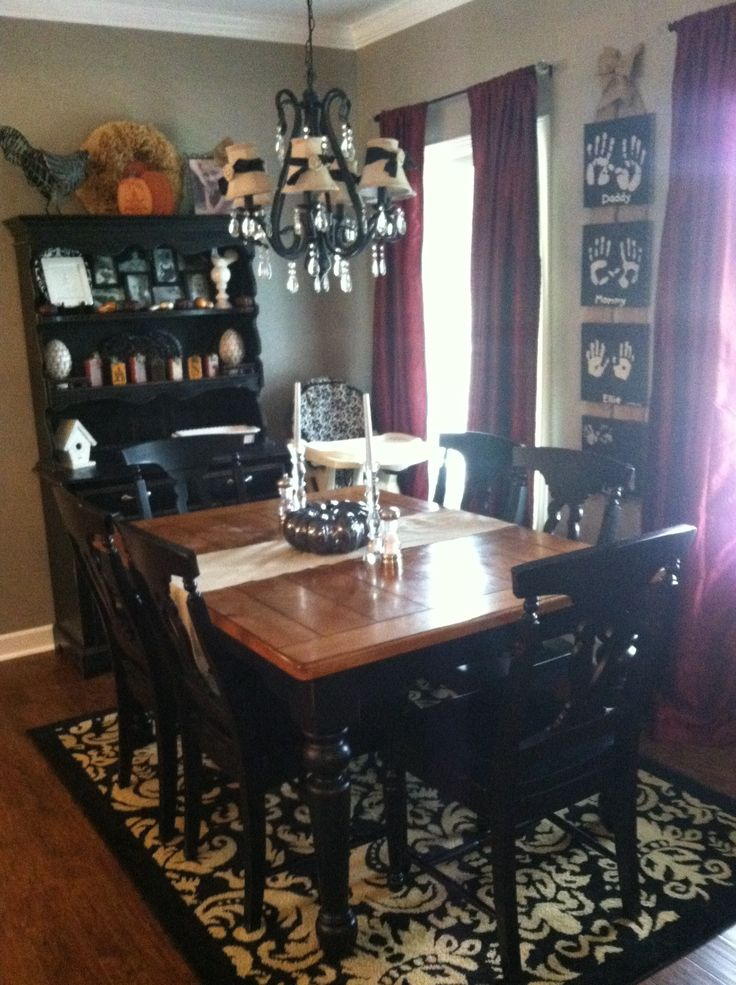 Damask Black Tan Kitchen Dining Room Rug Distressed Furniture French Country Traditional Crystal Iron Chandelier