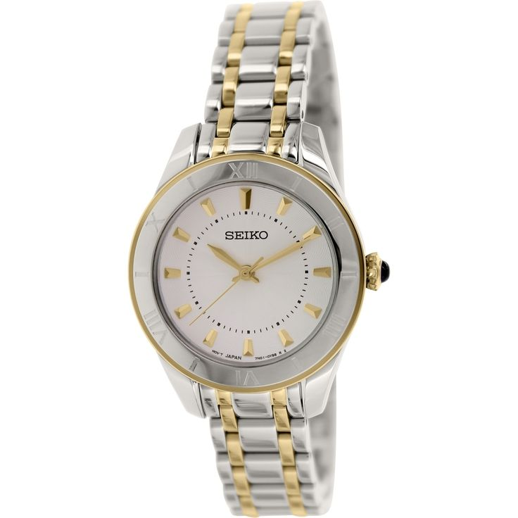 Great for going out or just hanging out, this watch by Seiko is the perfect complement to your wardrobe. With a white dial with gold applied indices, this timepiece makes a perfectly fashionable and functionable accessory.