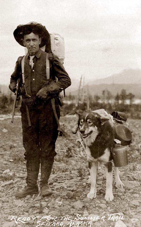 Prospector and his dog ready for the Summer Trail, Seward, Alaska c. 1900-30