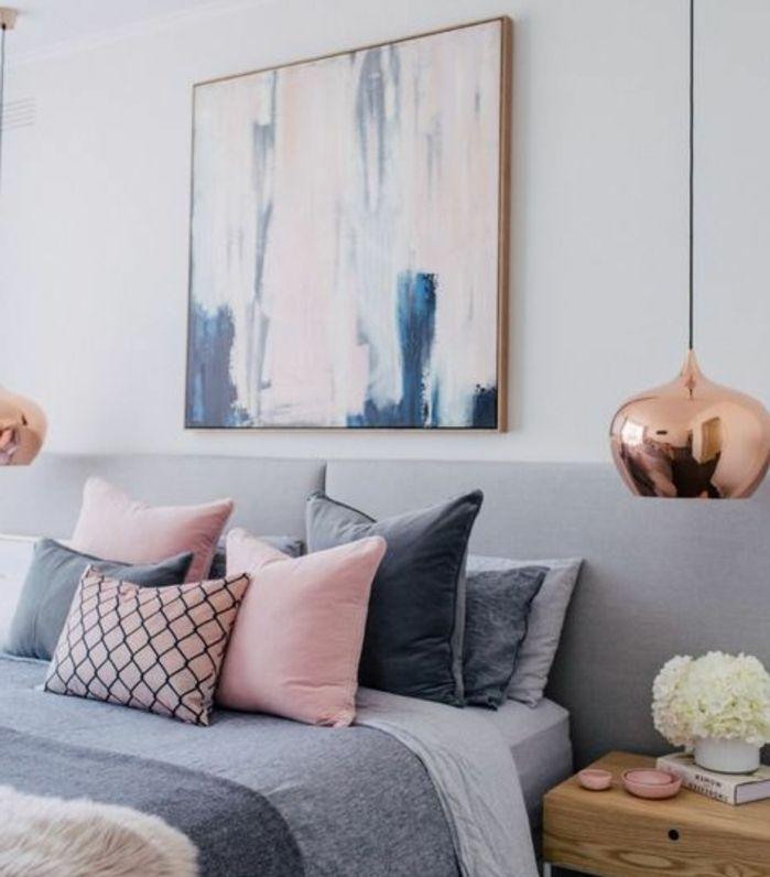 decoration chambre fille couverture de lit grise coussins rose gris suspensions en