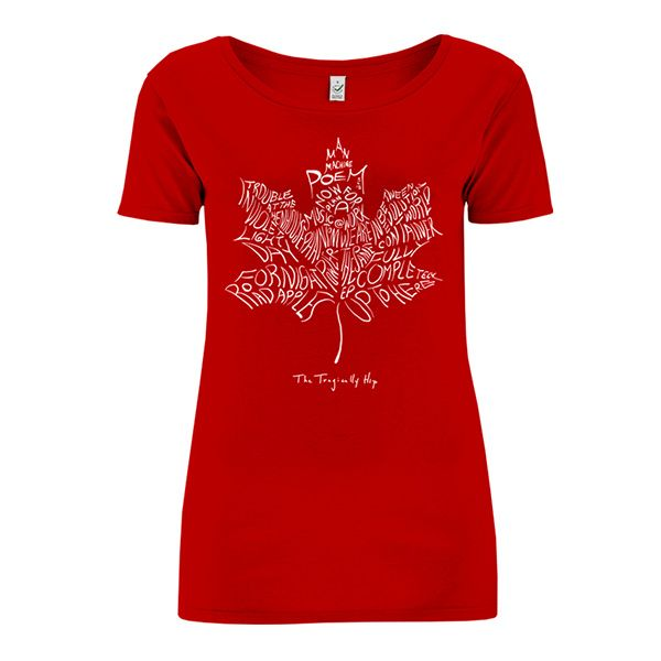Red T-Shirt with Maple Leaf Logo on Front. The Tragically Hip`s Full Discography…