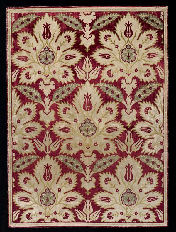 Cushion Cover  late 16th-early 17th century      Ottoman period     Velvet, silk and metallic thread  H: 87.5 W: 63.5 cm   Turkey