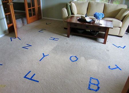 Hop on the letters to practice letter recognition AND develop gross motor