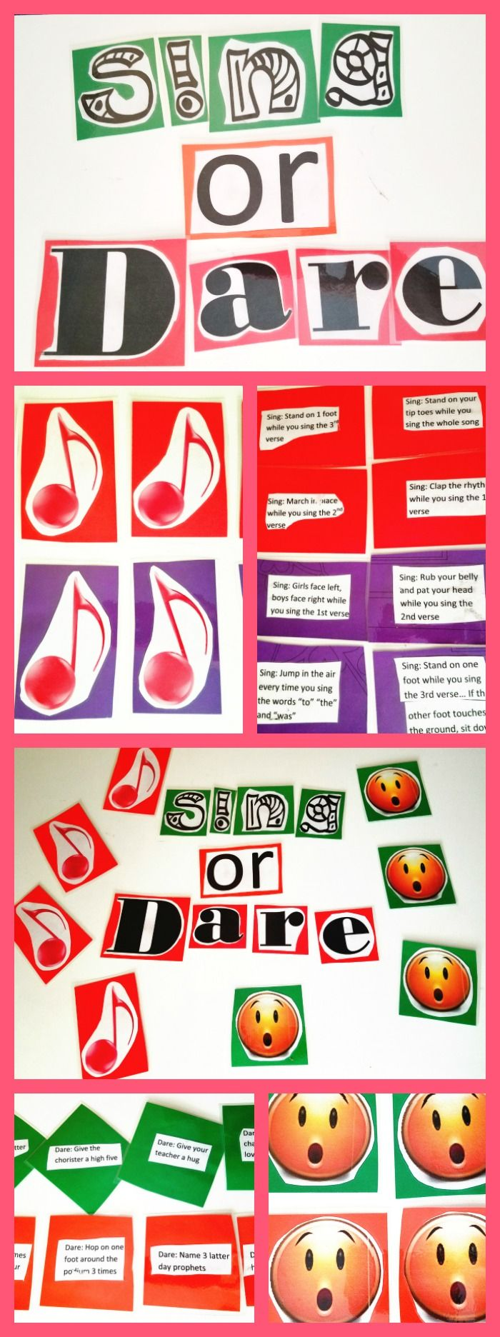 You have to do this game next Sunday I made two sets of each thing: musical notes and surprise emojis: I did 4 for Jr and 4 for Sr and made them different colors so I wouldn't get them confus…