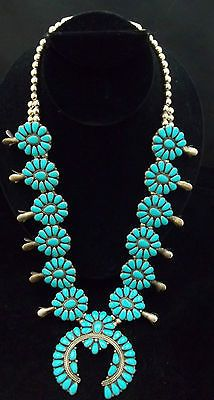 Navajo Silver and Turquoise Squash Blossom Necklace Pettipoint Signed ST962