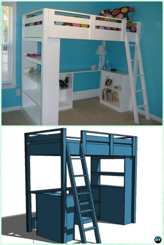 DIY Loft Bunk Bed with Desk Instructions-DIY Kids Bunk Bed Free Plans