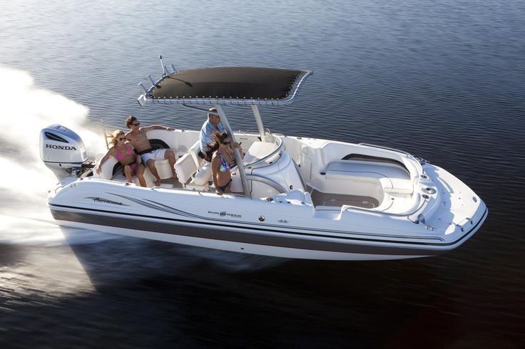 Hurricane Sun Deck with Honda Outboard. Love the center console with the canopy.