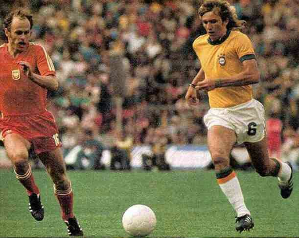 Poland 1 Brazil 0 in 1974 in Munich. Grzegorz Lato tracks Marinho Chagas in the 3rd place play-off at the World Cup Finals.