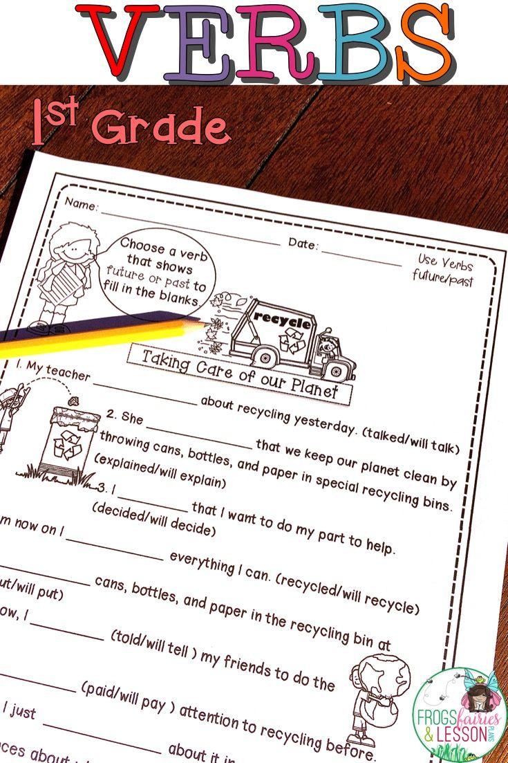 Verbs 1st Grade Teaching verbs, Literacy centers