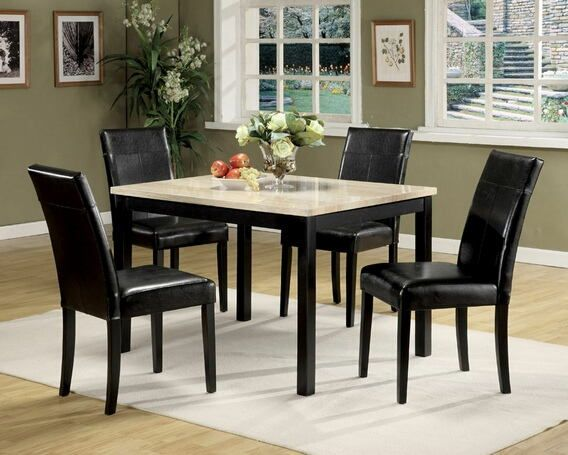 """5 pc Portland faux white and beige marble dining table set with leather like vinyl upholstered chairs.  This set includes the table with a faux marble top and 4 chairs upholstered with a leather like vinyl upholstery.  Table measures 47"""" x 36"""" .  Chairs measure 38"""" H to the back.  Side server also available separately.  Some assembly required."""