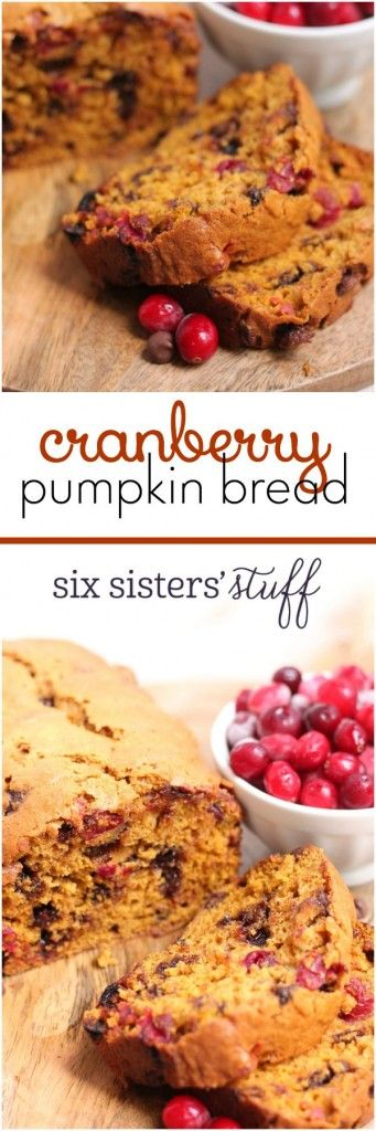 Cranberry Pumpkin Bread from Six Sisters' Stuff | This cranberry pumpkin bread has just a little bit of tartness with each bit of cranberry, but just enough sweetness with the chocolate chips. It's a bread we'll be making from now until Christmas!