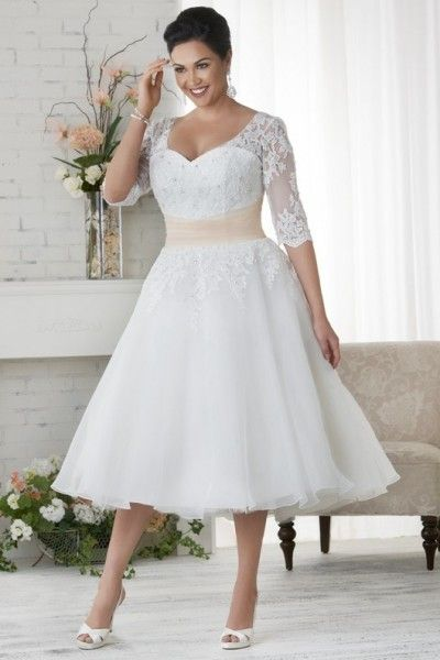 Simple A-line Tea-length Straps Organza Fabric Plus Size Wedding Dresses with Appliques Style pw150720