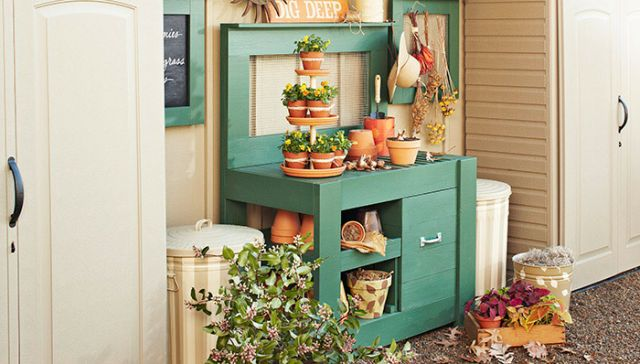 Create a Unique Place to Grow With These Free Potting Bench Plans: Free Potting Bench Plan from Lowe's