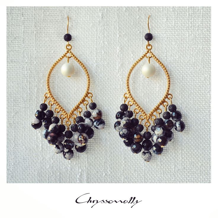JEWELRY   Chryssomally    Art & Fashion Designer - Elegant gold boho earrings, with agate, lava and pearls