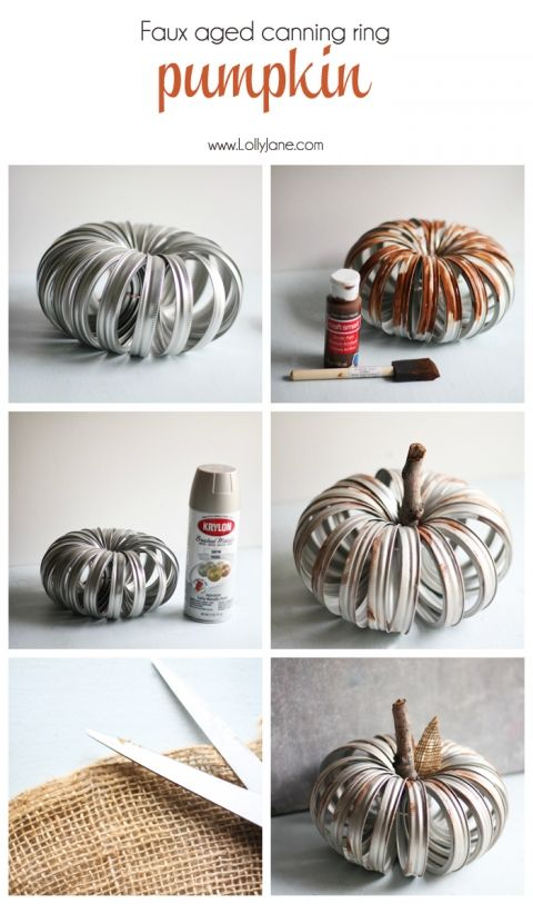 Cute faux aged canning ring pumpkin tutorial