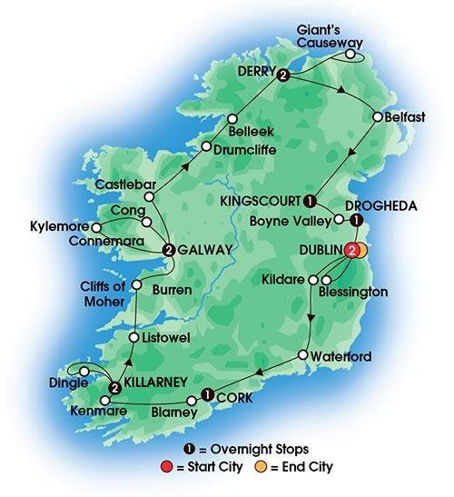 This Irish Odyssey Escorted Coach Tour of is 9 days/8 nights and includes 15 meals. Highlights: Taylor's Three Rock Pub Jaunting Car Ride Glorious Dingle Peninsula Farmhouse Tea & Scones Giant's Causeway Cabra Castle Hotel Stay