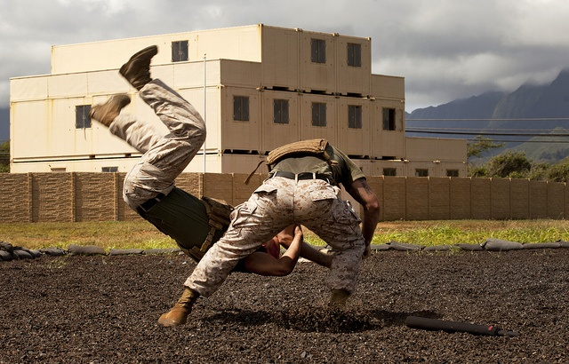 Throw Down! Marines demonstrate Marine Corps Martial Arts Program techniques during Headquarter Battalion's Warrior Day at Marine Corps Base Hawaii May 24, 2013.  (U.S. Marine Corps photo by Cpl. Kevin Jones/Released)