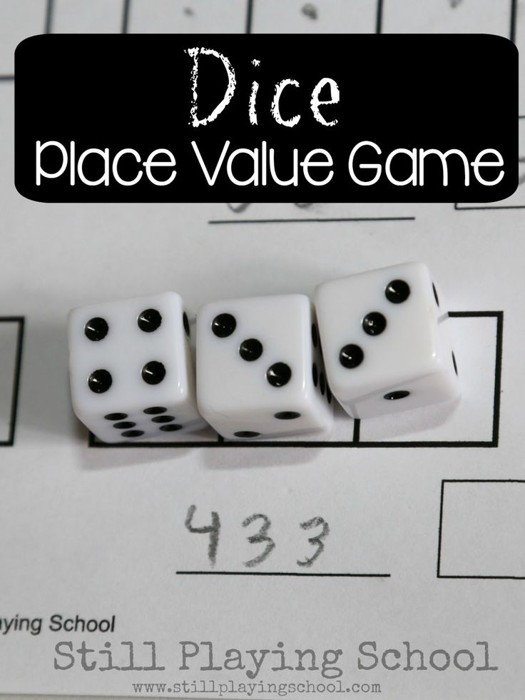 Teach kids about place value of hundreds, tens, and ones while playing this math game with dice!