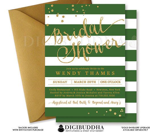 EMERALD & GOLD BRIDAL Shower Invitation Stripes Printable Invite Green and Gold Glitter Modern Wedding Free Priority Shipping or DiY- Wendy Style Available at digibuddha.com