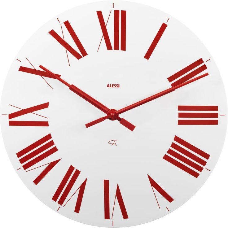 Alessi Firenze Clock in White and Red by Achille Castiglioni | www.richmondcookshop.co.uk
