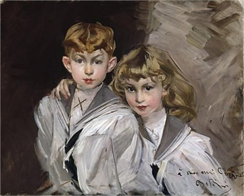 The two children  - Giovanni Boldini  Impressionism,portrait