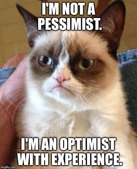 I'm not a pessimist. I'm an optimist with experience. So I guess a realist.