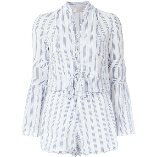 Lilly Sarti striped jumpsuit ($318) ❤ liked on Polyvore featuring jumpsuits, suit, lace up jumpsuit, long sleeve jumpsuit, long sleeve jump suit, striped jumpsuits and v neck jumpsuit