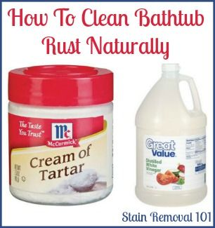 Make a paste of cream of tartar and vinegar to clean bathtub rust stains naturally {full recipe and instructions on Stain Removal 101}