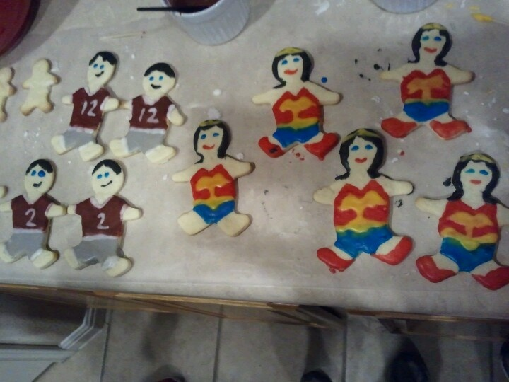 Wonder woman and Aggie Football player cookies