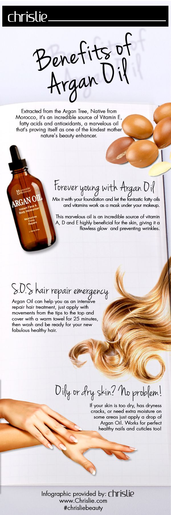 """Famous as nature's form of """"Liquid Gold"""", Measurable Difference Argan Oil is all your skin will ever need. It repairs your oily and dry skin and makes it look healthier and glowy. It's non allergenic and suits every skin type. It's an all rounder, when you mix it with foundation, it will work as a vitamin mask for your makeup. A firm massage with this on your hair will give you fabulous healthy hair #beautifulhair #FlawlessSkin #LoveChrislie"""