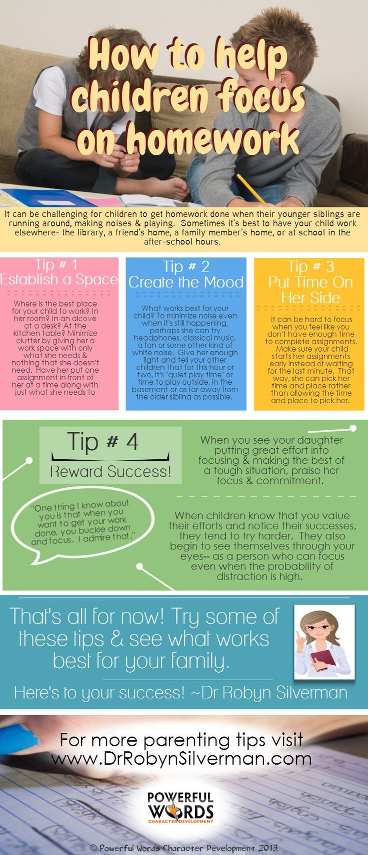 A great #Infographic for #parents who need tips on helping their children #focus on homework! http://www.drrobynsilverman.com/category/parenting-tips/