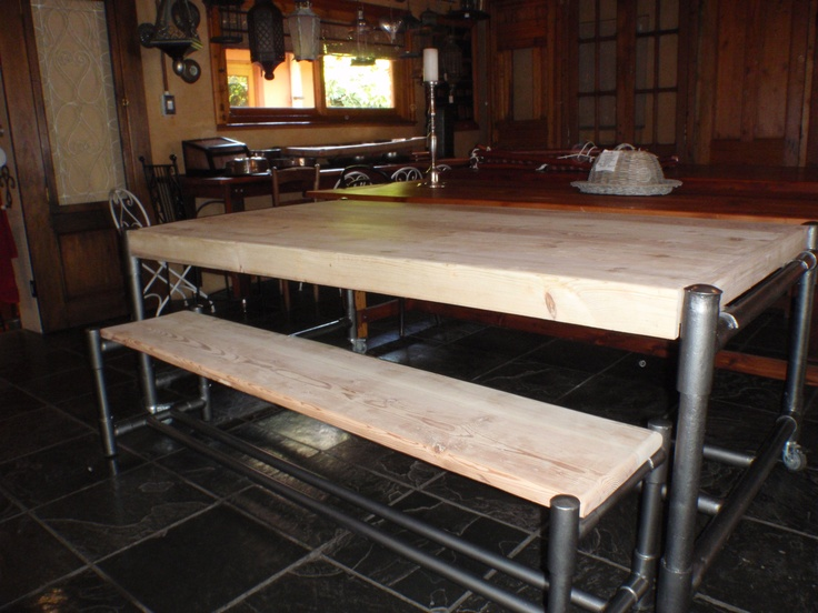 Salvaged Scaffolding and re-cycled Douglas Fir - table and benches made to size.