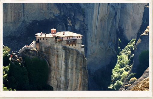 ROUSSANOU MONASTERY    In the heart of central Greece and on the edge of the Plain of Thessaly are the Metéora, which literally means the rocks suspended in air.