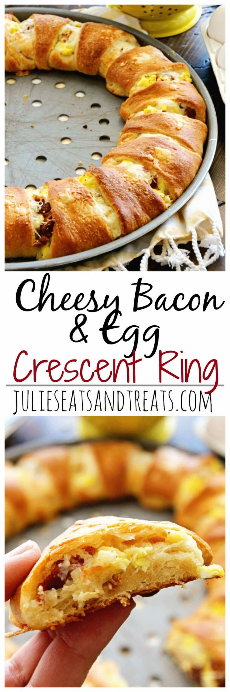 Cheesy Bacon & Egg Crescent Ring Recipe ~ Flaky Crescent Rolls Stuffed with Scrambled Eggs, Cheese, and Bacon for a Delicious Breakfast Recipe! ~ https://www.julieseatsandtreats.com