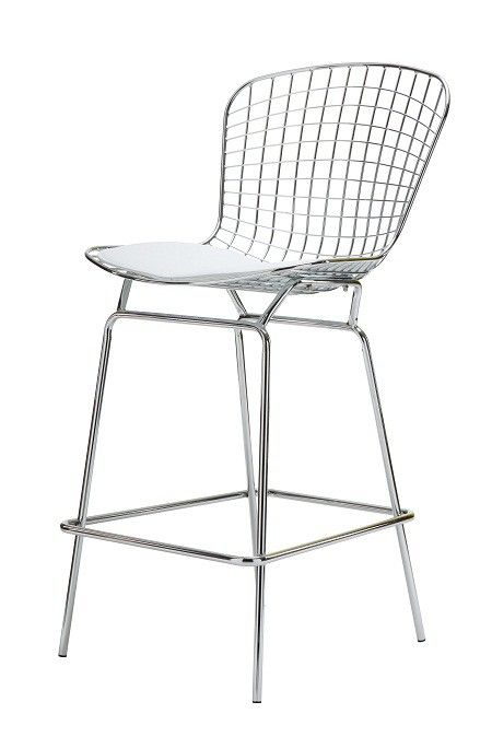 Replica Harry Bertoia Wire Bar Stool With White Pad    Harry Bertoia  Transformed Industrial Wire