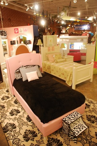 Pink Leather Twin Bed