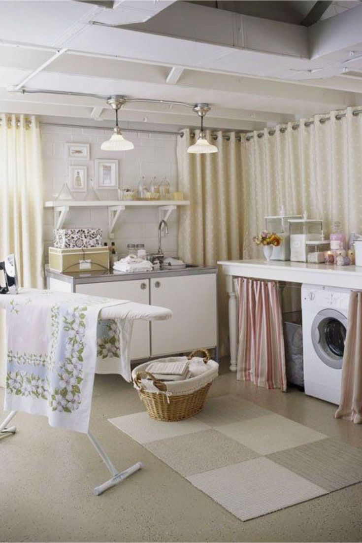 Love this laundry nook laundry area in the basement - the budget friendly decorating ideas are brilliant!