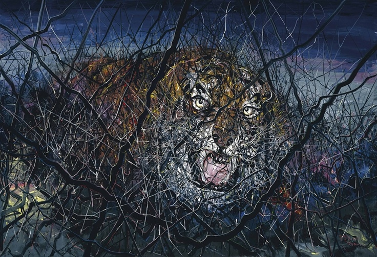 Zeng Fanzhi   The Tiger   oil on canvas   94 7/8 x 137 5/8 in. (241 x 350 cm.)   Painted in 2011.