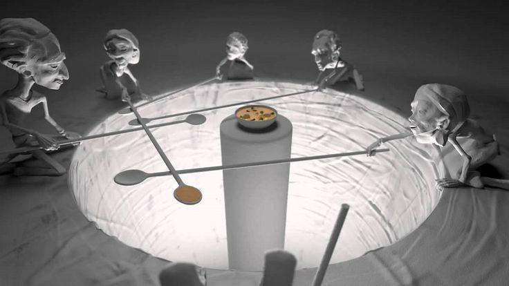 """A campanha Caritas, visando alertar todo o planeta para tal realidade, baseando-se em uma história ancestral sobre a fome e partilha, criou este vídeo de animação. A campanha denomina-se """"One Human Family, Food for All"""" e teve a direção de arte de EALLIN. A """"alegoria das colheres longas"""" nos faz refletir acerca da imortância de nos auxiliarmos mutuamente, """"uns pelos outros""""."""