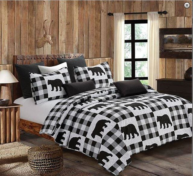 LAKE and LODGE 2pc Twin QUILT SET CABIN COUNTRY MOUNTAIN BEAR DEER FISH