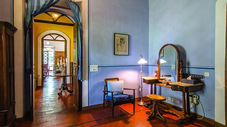 Gorgeous vibrant interiors, with colonial British and Portuguese elements - at Vivenda, in south Goa. To book or enquire: https://www.tripzuki.com/hotels/vivenda-dos-palhacos-goa/