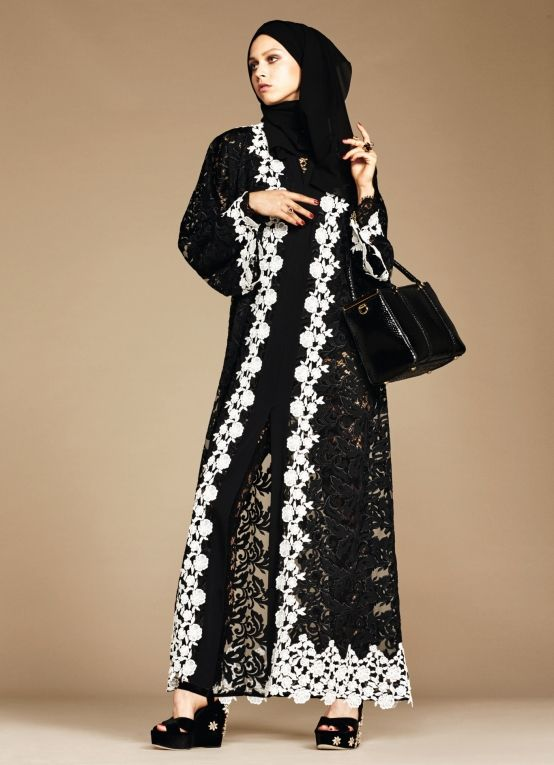 Stunning Abaya's, I'm sure they have a stunning Price tag too ... kd Exclusive: Dolce & Gabbana Abaya Line | Style.com/Arabia