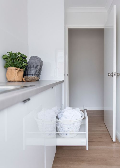 Single-Wall Laundry by Red Lily Renovations