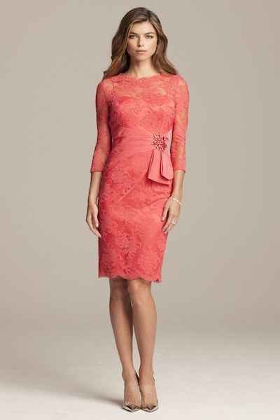 xl hats Coral mother of the bride dress   cocktail length   Teri Jon