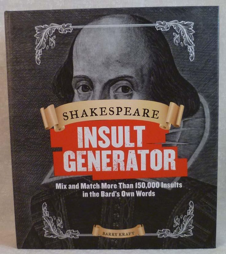 Um, yes please!  Shakespeare Insul... may just be my new favorite.  http://www.julesenchantinggifts.com/products/book-shakespeare-insult-generator?utm_campaign=social_autopilot&utm_source=pin&utm_medium=pin