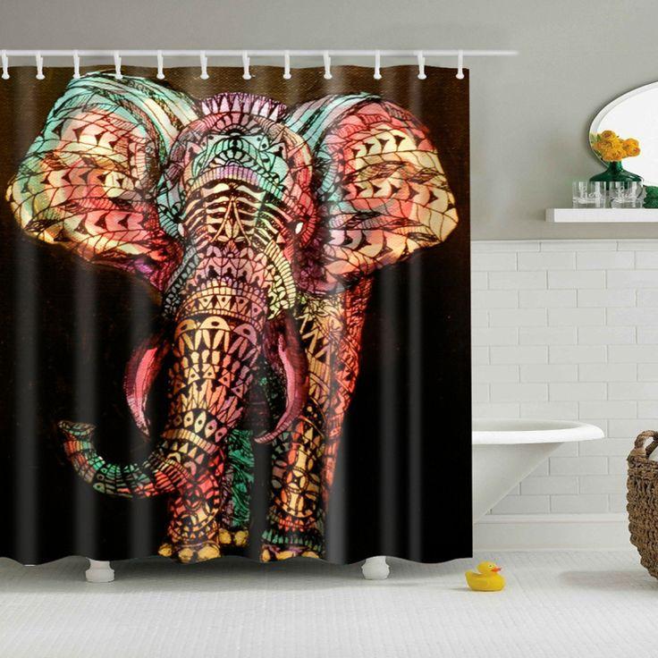 elephant printed bath room Shower Curtain  Polyester Waterproof Bathroom cortina ducha Curtain with Hooks
