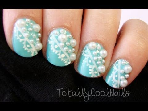Elegant Lace and Pearl Nail Art. I like this but without the pearls on it - Best 25+ Pearl Nail Art Ideas On Pinterest Chrome Nail Colors