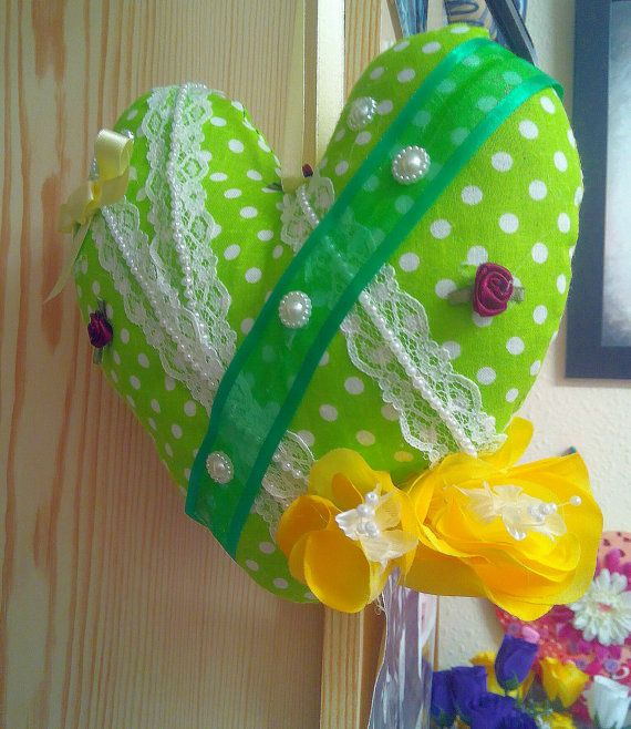 Large Fabric Heart Green Polka Dot Shabby by Ladydarinefinecrafts