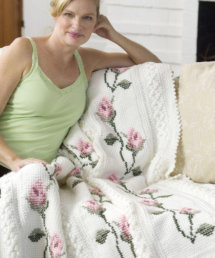 free Rosebud Throw crochet pattern